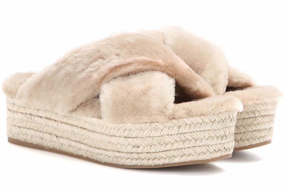 furry footwear Miu Miu Fur platform Espadrilles