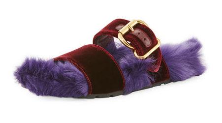 furry footwear Prada Fur Velvet Slide Sandal