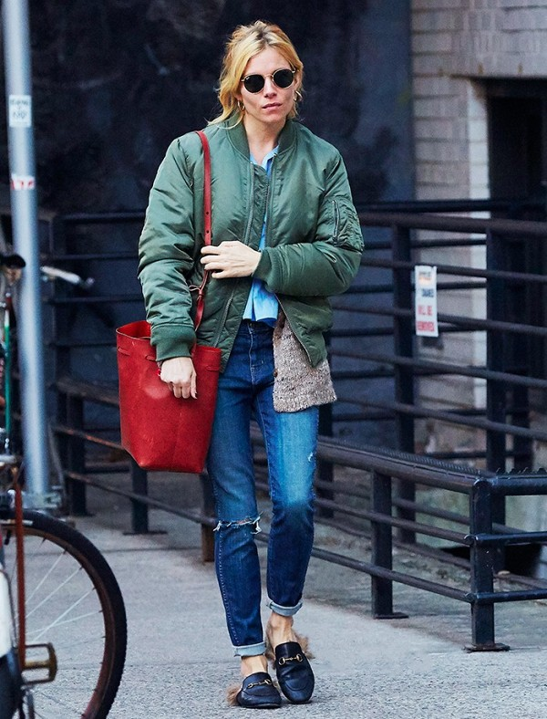 Sienna Miller in furry footwear Women's Gucci Princetown leather slipper