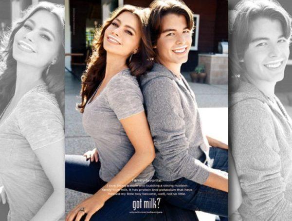 Sofia Vergara and her son Manolo, 19, smile in the latest Got Milk mustache ad.