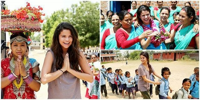 Selena Gomez is greeted by students at Satbariya Rapt Secondary School wearing traditional Nepali clothing while on a mission for UNICEF
