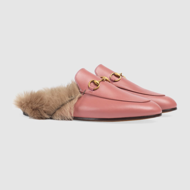 Furry footwear GUCCI Men's Princetown leather and lamb fur slippers in pink leather