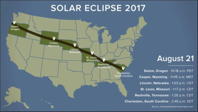 Official path of the Total Solar Eclipse on August 21, 2017