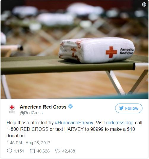 American Red Cross asks for your support in the wake of Hurricane Harvey's devastation in Texas