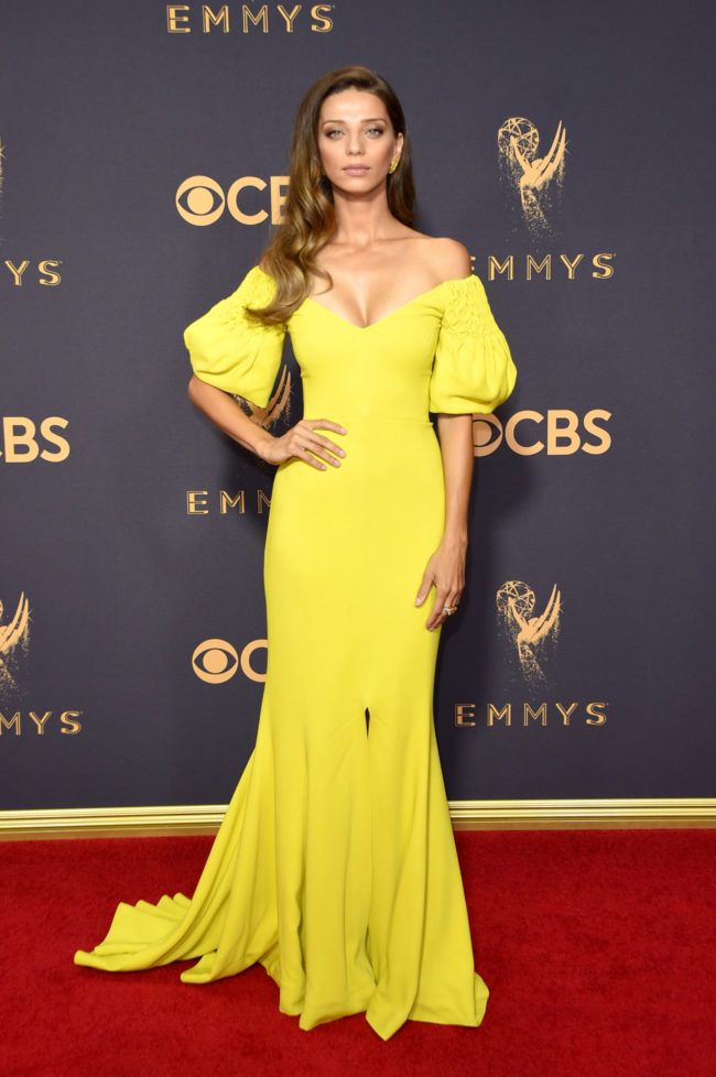 Angela Sarafyan in a tart lemon colored Elizabeth Kennedy gown at the 2017 Emmy Awards