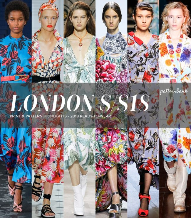 Highlights from London Spring Summer 2018 runway included bold and colorful patterns