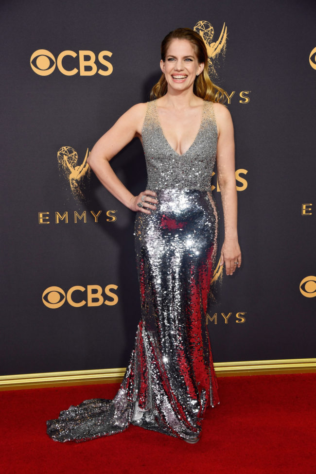 Anna Chlumsky in custom Sachin Babi at the 2017 Emmy Awards