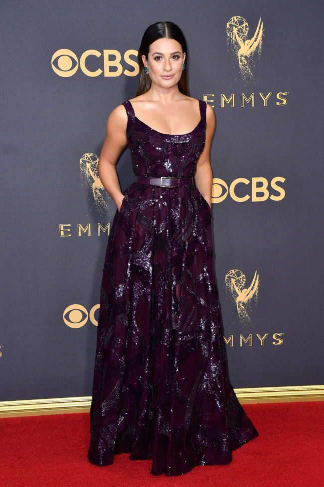 Lea Michele in Elie Saab at the 2017 Emmy Awards