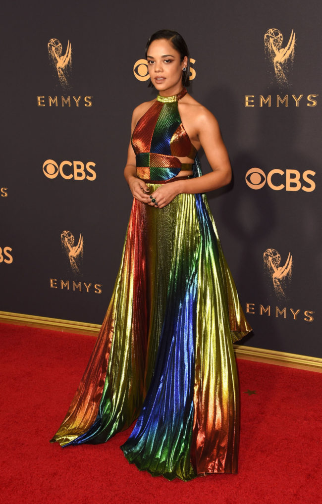 Tessa Thompson in Rosie Assouline at the 2017 Emmy Awards