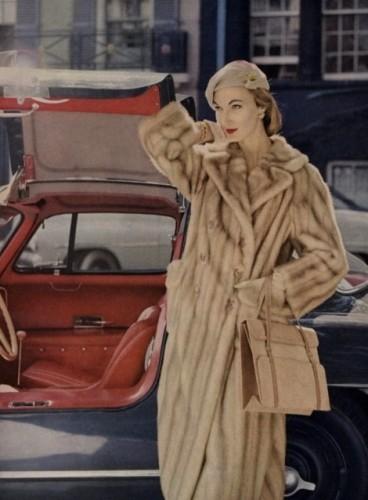 1956 Vogue Magazine editorial featuring mink