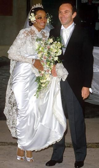 Diana Ross at her 1985 wedding to Arne Naess, Jr., a wealthy Norwegian shipping businessman and mountaineer. They had two sons