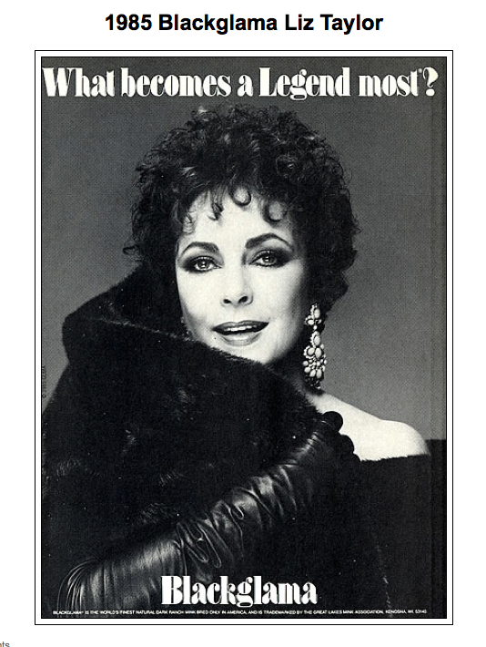 "Elizabeth Taylor - Blackglama Mink ""What Becomes A Legend Most?"" Ad Campaign (1985)"