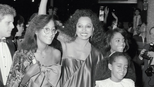 Diana Ross arrives with her children Tracee, Chudney and Rhonda, at Radio City Music Hall for her performance