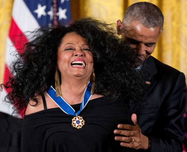 President Barack Obama presents the Presidential Medal of Freedom to singer Diana Ross during a ceremony