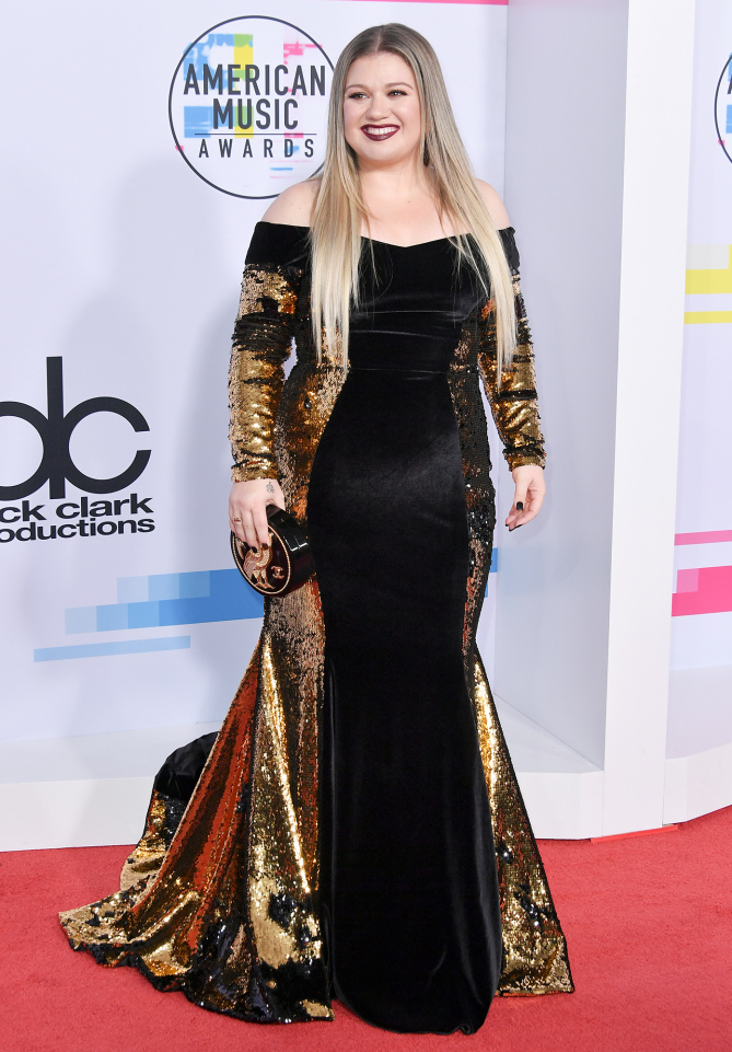 Kelly Clarkson in Christian Siriano gown that had a somewhat distracting gold elements down the side... jury is still out at 2017 American Music Awards
