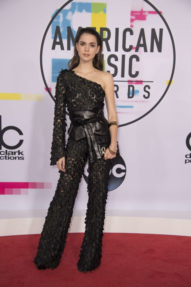 Maia Mitchell in a stunning floral applique one-shoulder Alberto Audenino jumpsuit at the 2017 American Music Awards