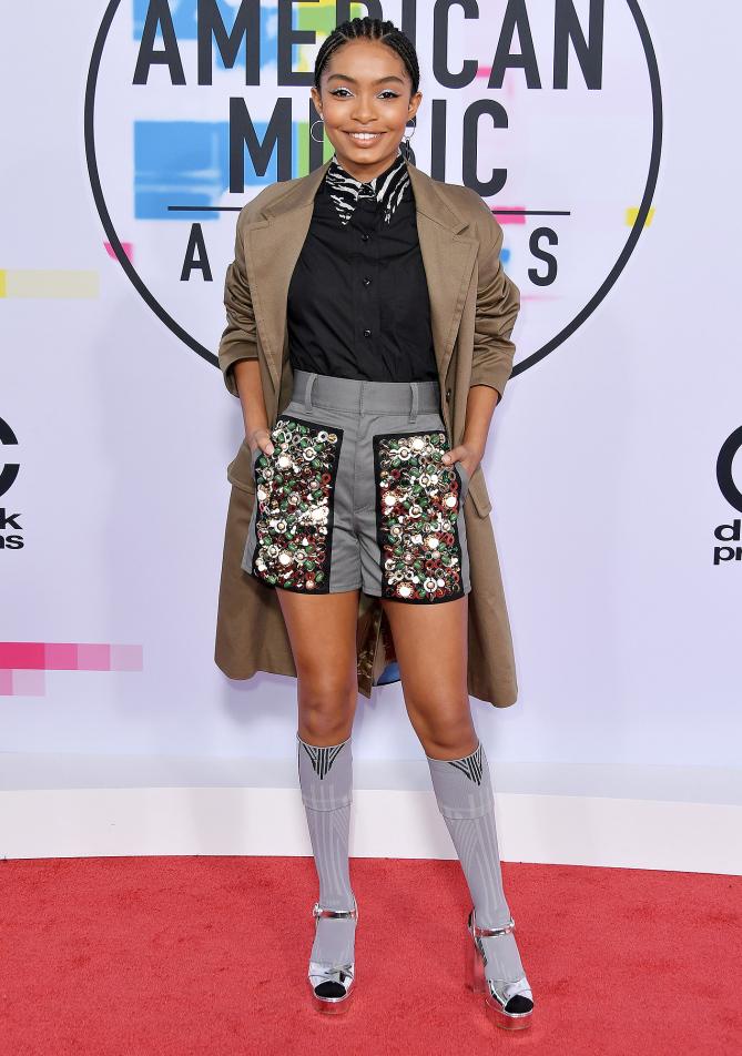 Yara Shahidi was cute and unexpectedly glam in printed Prada shorts