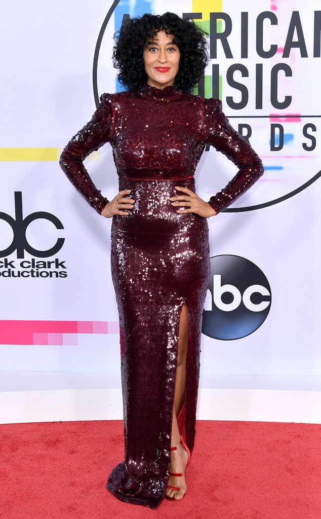 Tracee arrived on the red carpet in a custom sequined bordeaux colored fitted gown by Stella McCartney