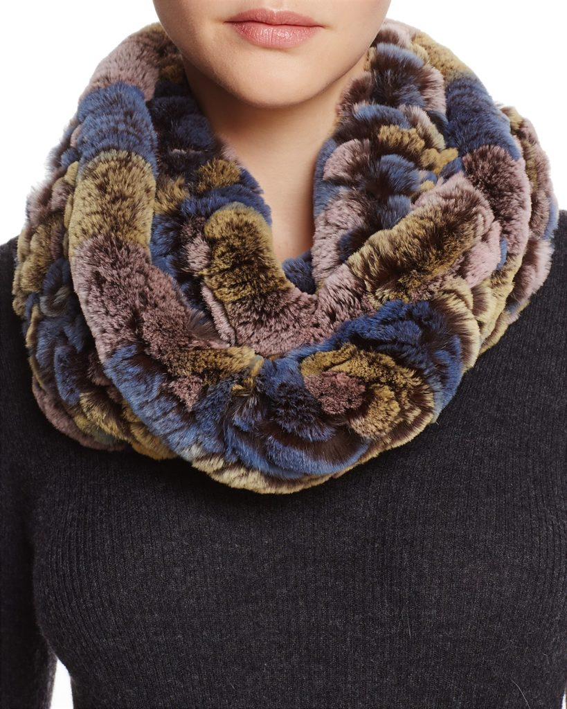 Knit Rabbit Fur Infinity Scarf by Maximilian Furs stocking stuffers