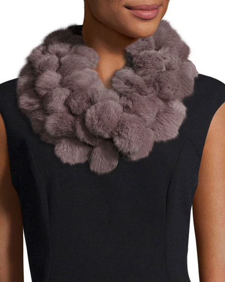 Rabbit fur pompom infinity scarf by Adrienne Landau stocking stuffers