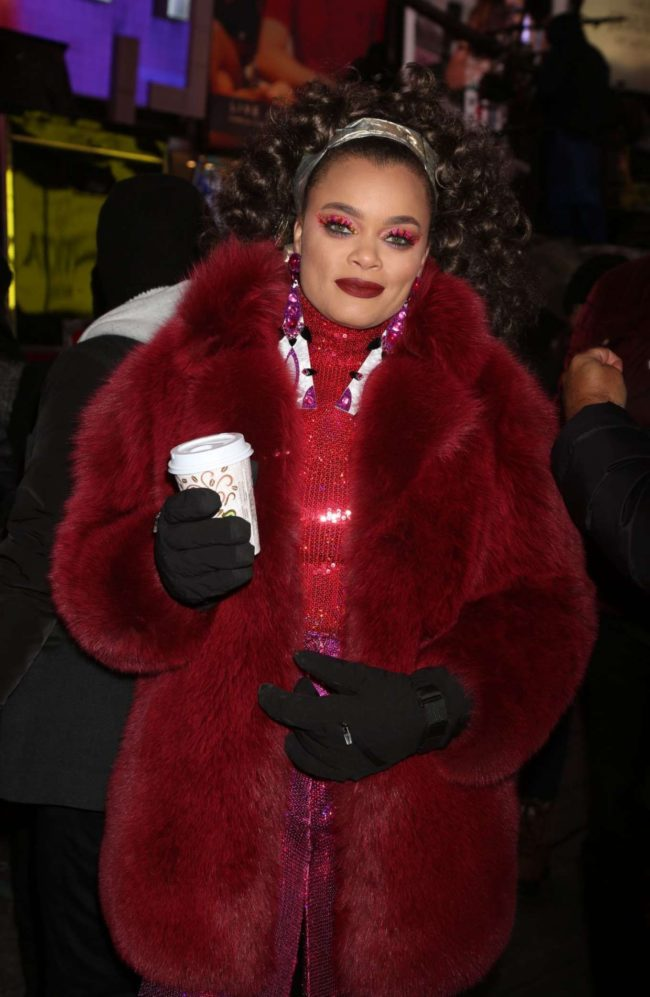 celebrity style Soulful crooner Andra Day 2018 New Years Eve Celebration in Times Square in NYC
