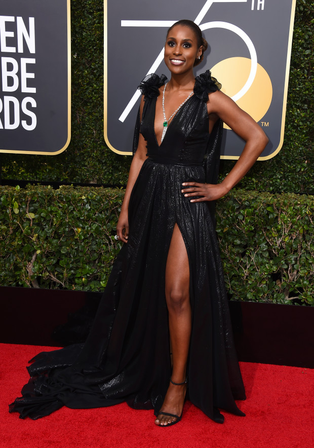 Issa Rae arrives at the 75th annual Golden Globes Awards