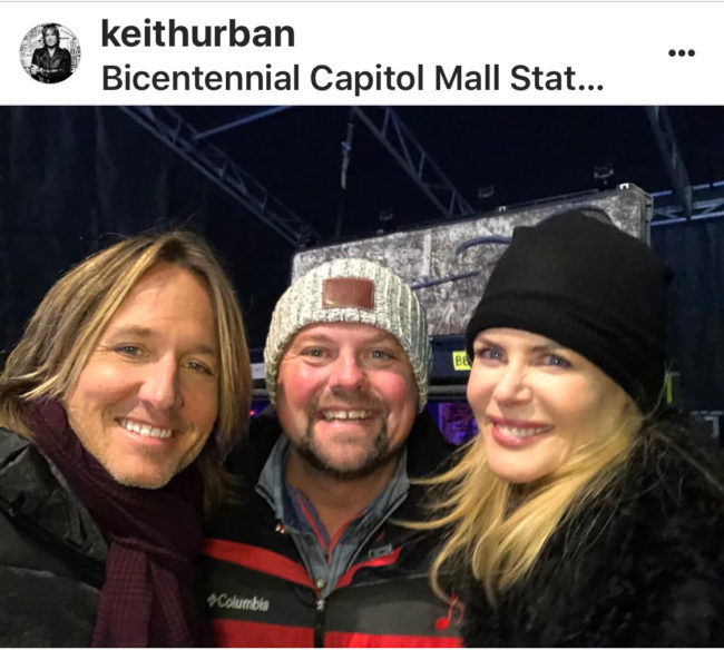 Country star Keith Urban snapped a selfie with his equally famous wife Nicole Kidman before he took the stage on New Year's Eve