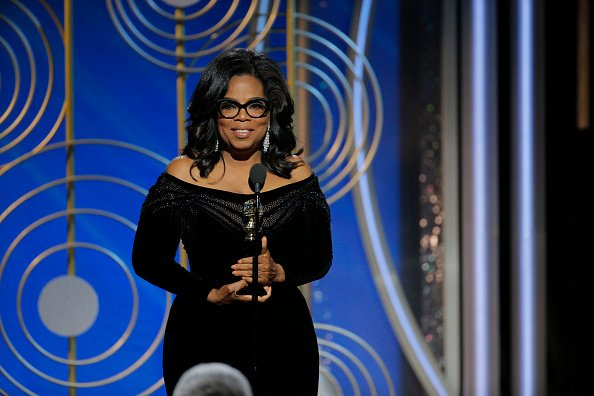 Oprah Winfrey accepting the 2018 Cecil B. DeMille Award speaks onstage during the 75th Annual Golden Globes
