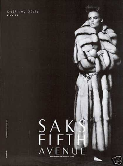 1990's Saks ad featuring Fendi fur