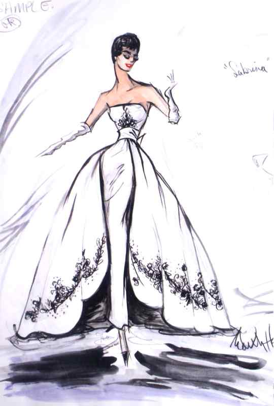 "Audrey Hepburn in ""Sabrina,"" 1954. Original sketch by Edith Head and Hubert de Givenchy"