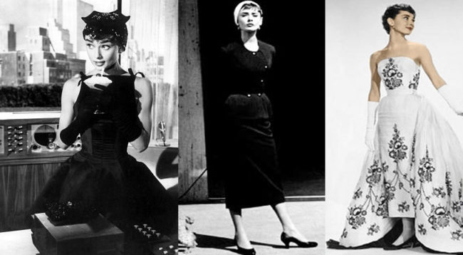 "Audrey Hepburn wears three dresses from the movie, ""Sabrina,"" 1954 designed by Givenchy"