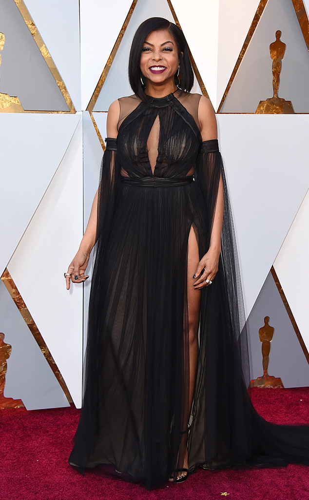 Vera Wang also proved that she can deliver sultry and sexy too with Taraji P. Hensen's come hither boudoir look at the 2018 Oscars
