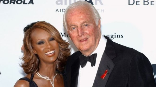 Designer Hubert de Givenchy, pictured with the model Iman in 2002, was a giant of French fashion