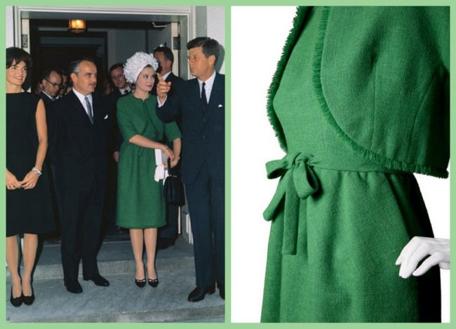 Grace Kelly and Jacqueline Kennedy during a visit of the Prince of Monaco to the White House. Grace Kelly wears a green dress by Hubert de Givenchy.