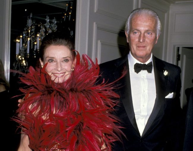 Ms. Hepburn with Mr. Givenchy in 1988 when he received the state of California's Lifetime Achievement Award. Credit Ron Galella/WireImage, via Getty Images