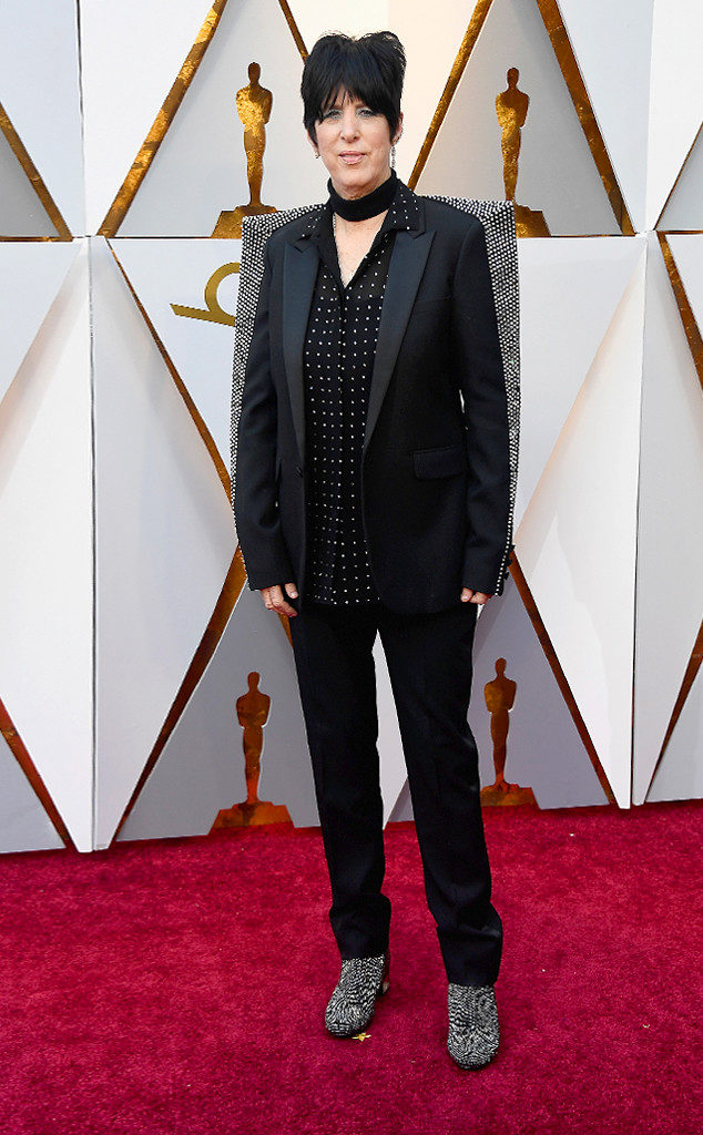 Diane Warren shows just how bad-ass she really is in this rock n' roll chick pants suit at the 2018 Oscars