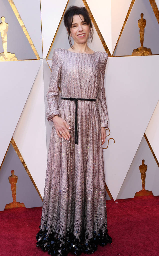 "The ""shape"" of this dress will hopefully grow on us.. Sally Hawkins sporting an unflattering Armani Prive gown to the 2018 Oscars"