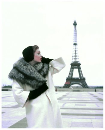 Suzy Parker in Hubert de Givenchy Coat, photographed by Georges Dambier for ELLE, 1954