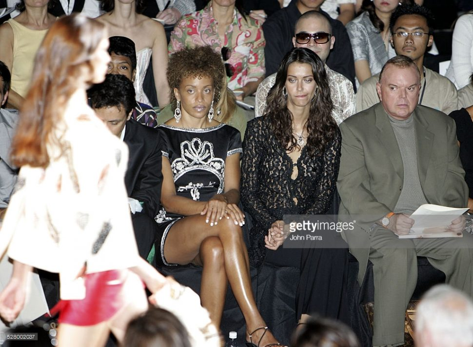 The legendary stylist, TV personality and designer Leon Hall was always a Fashion Week front row staple. Pictured here (L to R) Stacie Jones, Upchurch Trude and Leon Hall during Olympus Fashion Week Spring 2006 at the Zang Toi show.