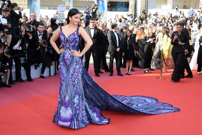 Aishwarya Rai Bachchan butterfly dress by Michael Cinco at 2018 Cannes Film Festival