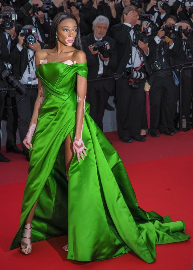 Winnie Harlow in a green satin Ralph & Russo gown was truly effervescent at 2018 Cannes Film Festival