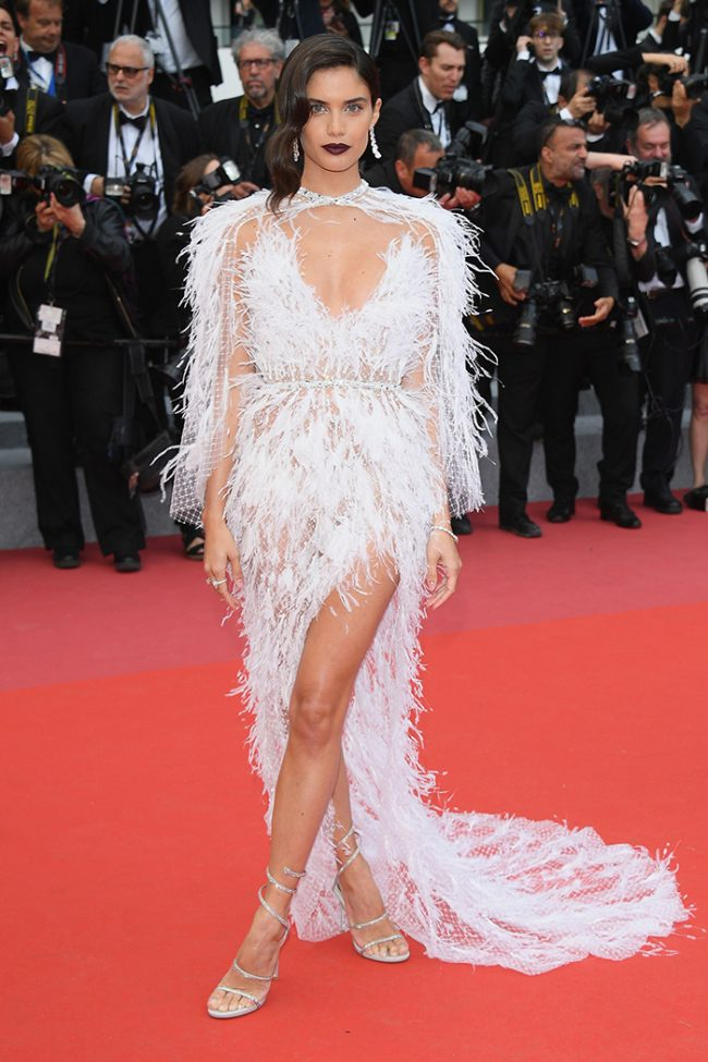 Sara Sampair in a beautifully ethereal Ralph and Russo gown at the 2018 Cannes Film Festival