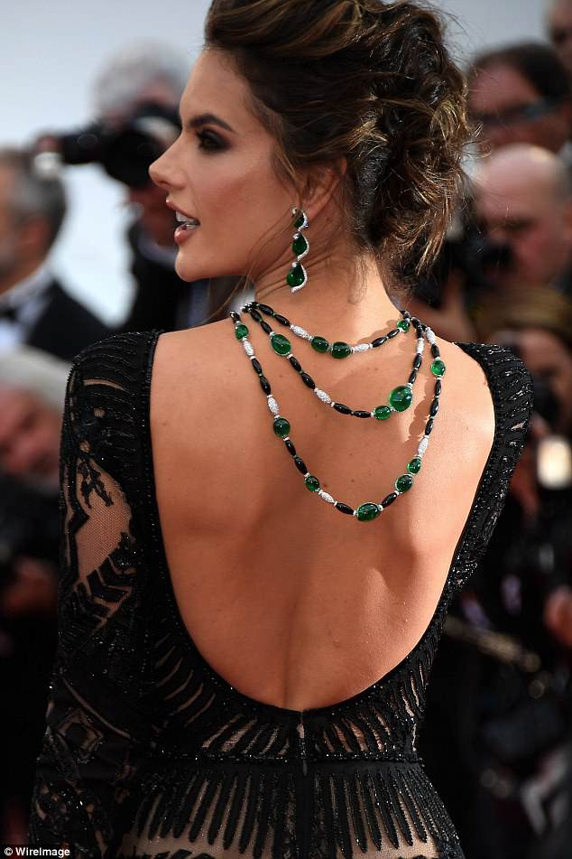Alessandra Ambrosio did it again in a stunning, plunging back, Zuhair Murad dress with delicate lace overlay at 2018 Cannes Film Festival