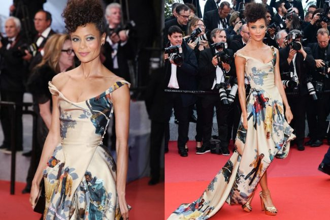 Thandie Newton, wearing a custom Vivienne Westwood gown, was the first black actress to have a leading role in a Star Wars franchise film- dress made with all black Star Wars characters at the 2018 Cannes Film Festival