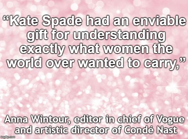 Anna Wintour comments on the untimely death of American designer Kate Spade