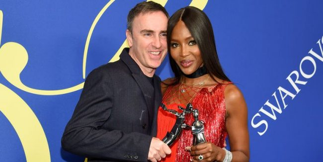 Raf Simons and Naomi Campbell in Calvin Klein at the 2018 CFDA Awards in New