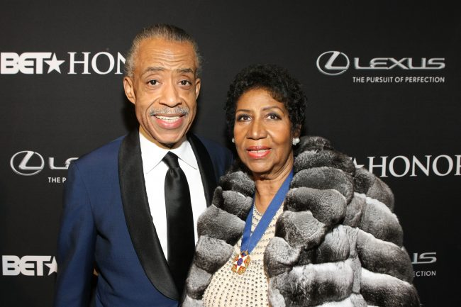 Minister Al Sharpton and singer Aretha Franklin attend the BET Honors 2014 red carpet