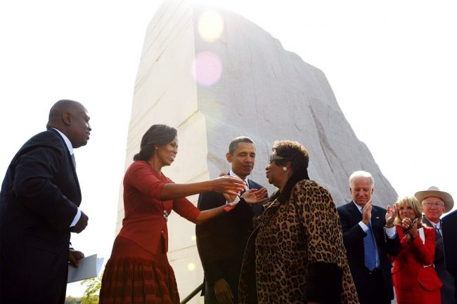Aretha Franklin in 2011 with President Barack and Michelle Obama at the opening of the Martin Luther King Jr. Memorial located in downtown Washington, D.C. The memorial honors Martin Luther King, Jr.'s legacy and the struggle for freedom, equality, and justice.