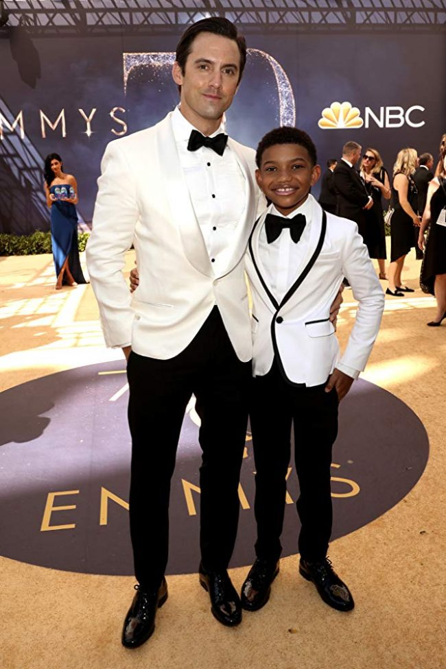 Milo Ventimiglia and Lonnie Chavis, co-stars of the hit show 'This Is Us', at the 2018 Emmy Awards