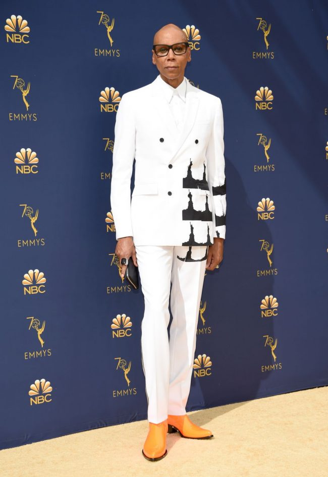 Ru Paul working it in a sleek double-breasted Calvin 205W39NYC suit at 2018 Emmy Awards